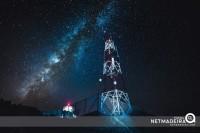 Radio tower under the stars