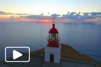 Ponta do Pargo lighthouse sunset aerial - Ilha da Madeira - Madeira Island - 4K Ultra HD